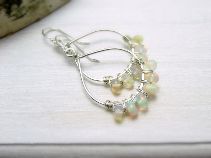 Ethiopian Opal and Sterling Silver Hoop Earrings