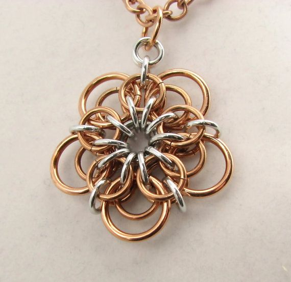 Demeter Chainmaille Flower Pendant by dancingleafstudios on Etsy                                                                                                                                                                                 More