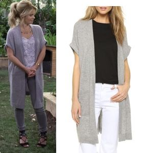 Fuller House season 2 , episode 8 clothes: DJ's (Candace Cameron Bure) long grey maxi cardigan #fullerhouse