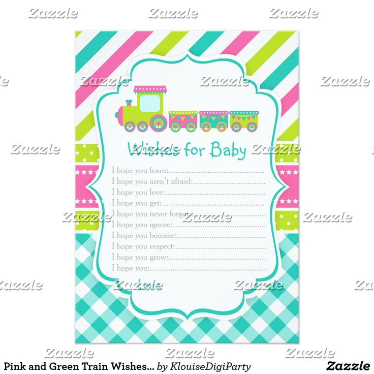 Pink and Green Train Wishes for Baby Advice Card
