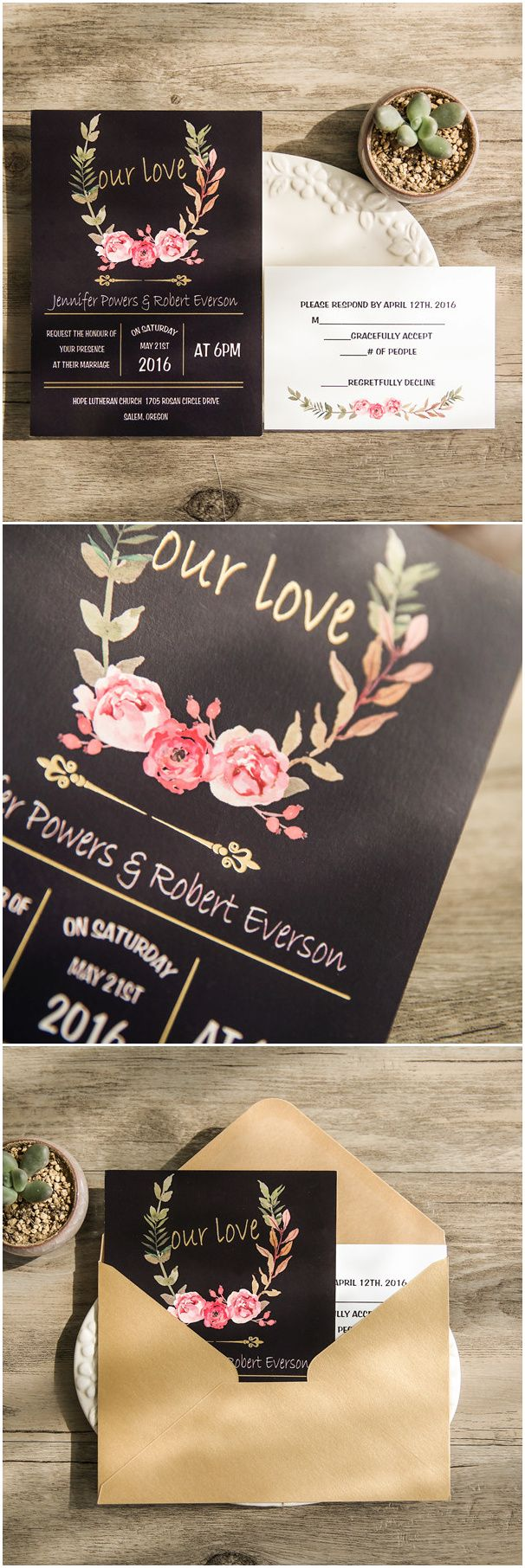 81 best gold foil wedding invitations images on pinterest