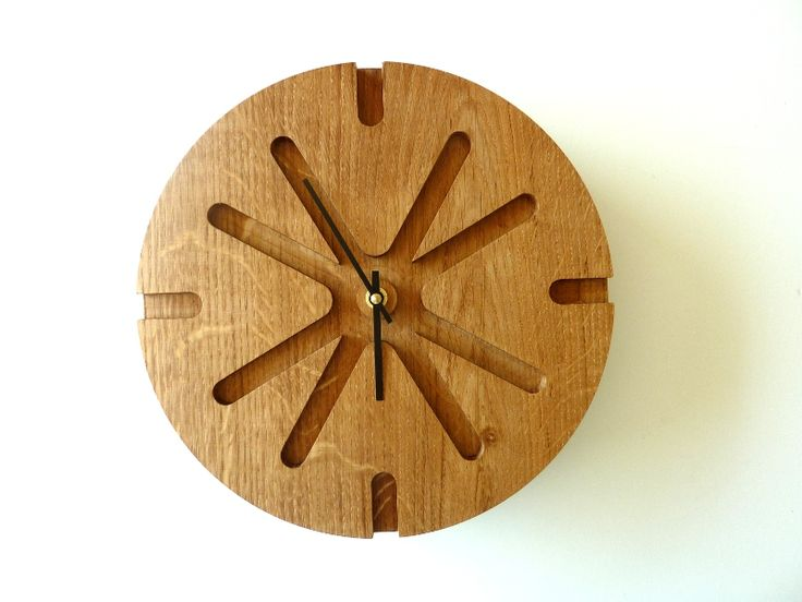 Wood Wall Clock - Unique Wall Clock - Wood Wall Decor - Modern Wall clock - Wall clock - Asterisk - solid oak.