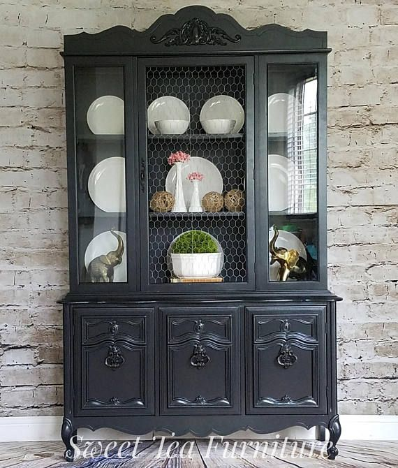 SOLD Vintage french provincial black china cabinet