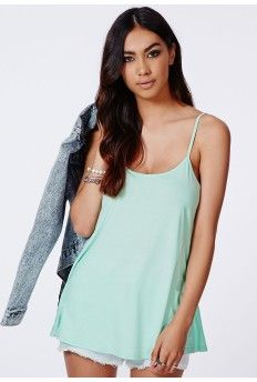 Remela Mint Strappy Swing Cami Top