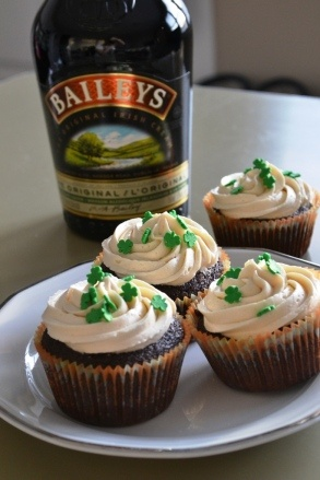Guiness Cupcakes with Whiskey Ganache and Bailey's Frosting.