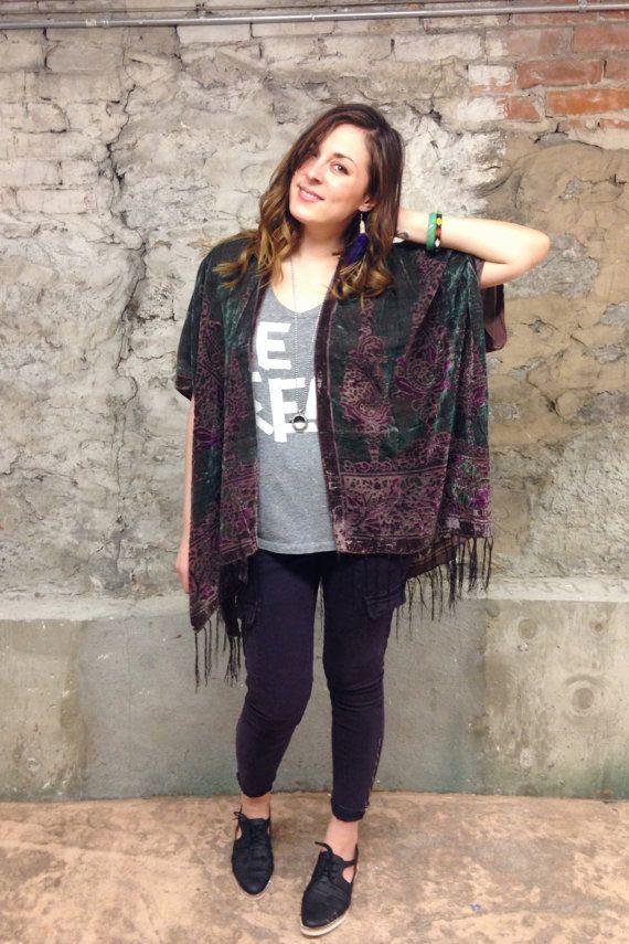 Velvet Kimono: Moss Green and Mauve Gypsy by HalinaShearmanDesign