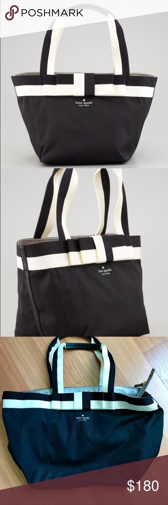 "Kate Spade Barrow Street Garri Tote Bag Snappy, classy, and stripy, this kate spade new york tote is suitable for your daily dress codes—whether smart-casual or business.  -Packable, durable nylon; leather trim and golden hardware. -Striped trim forms flat center bow; printed logo. -Tote handles feature leather strips. -Zip top secures flat metallic top. -Inside features one zip pocket. -Flat bottom. -9""H x 13""W x 8""D; weighs 8oz. kate spade Bags Totes"
