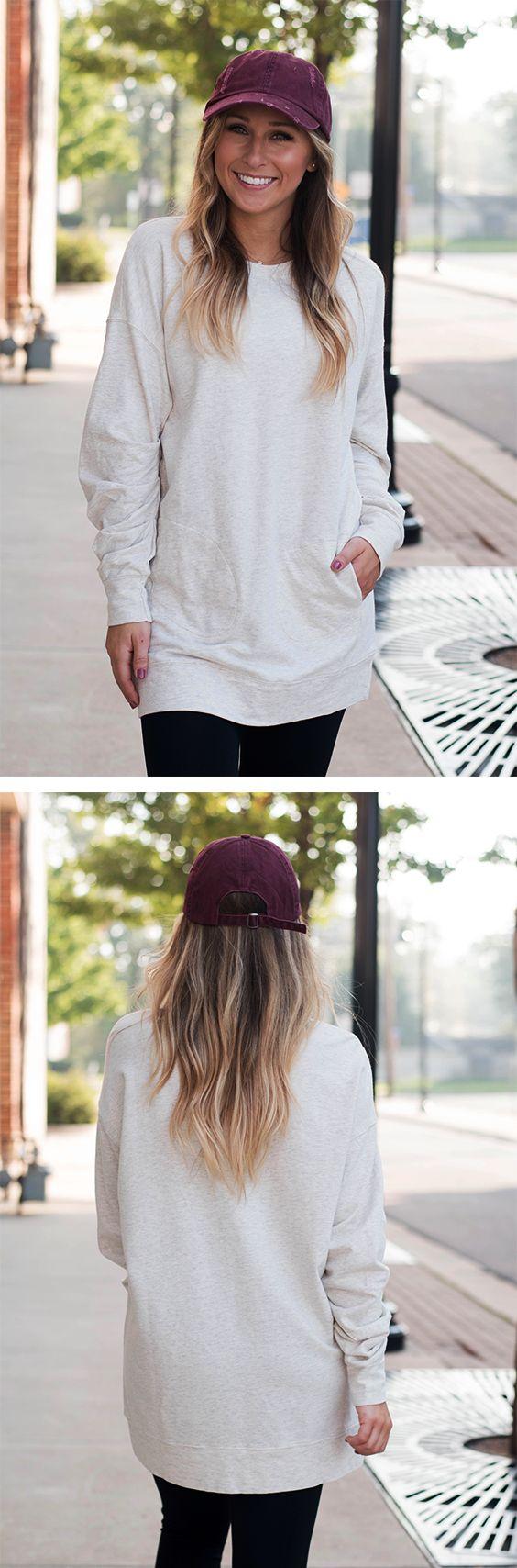 Oatmeal Pocket Sweatshirt Tunic | Lane 201 Boutique