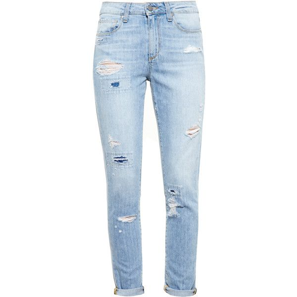 PAIGE DENIM Distressed Callie Boyfriend Jeans (530 CAD) ❤ liked on Polyvore featuring jeans, pants, bottoms, calças, distressed jeans, stretch jeans, blue jeans, slim fit jeans and distressed boyfriend jeans