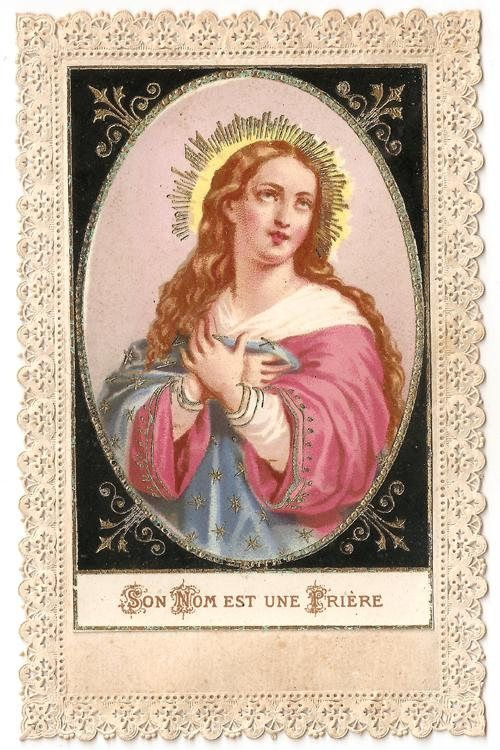 Virgin Mary Antique French Catholic Paper Lace Holy Prayer