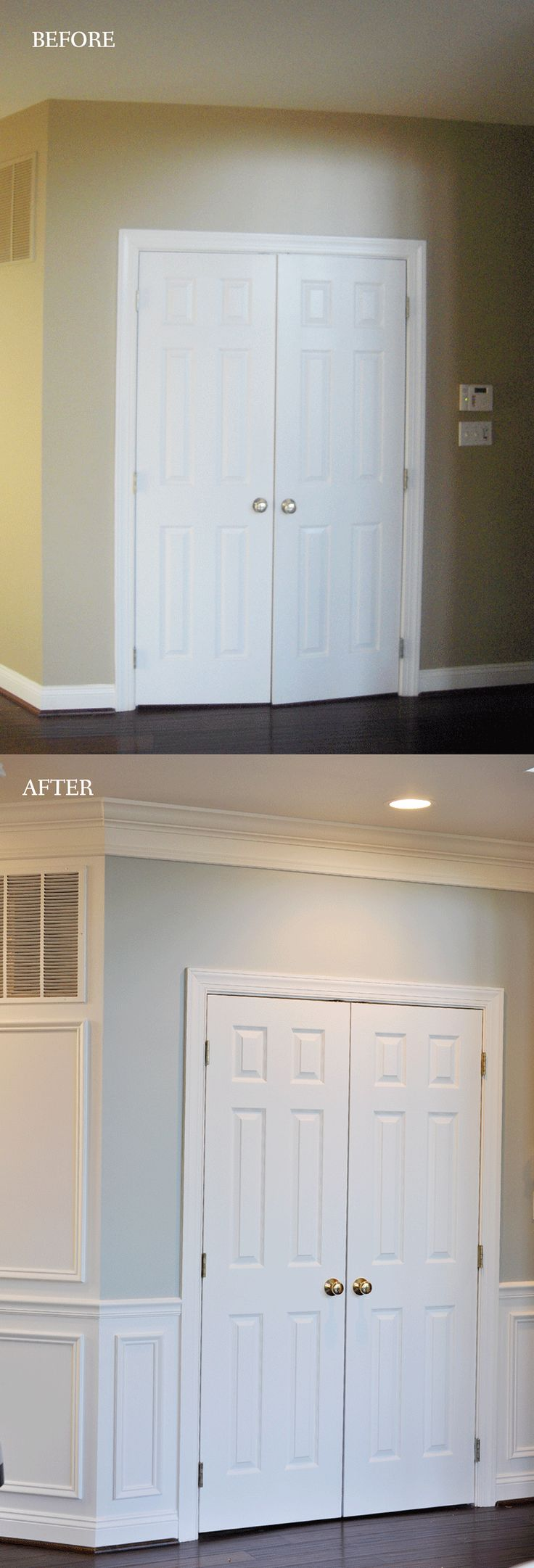 Trim and wainscoting make such a HUGE difference. This DIYer taught herself how to do it all and transformed her whole home.