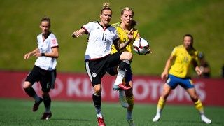 June 20 2015 Anja Mittag of Germany is challenged by Linda Sembrant of Sweden