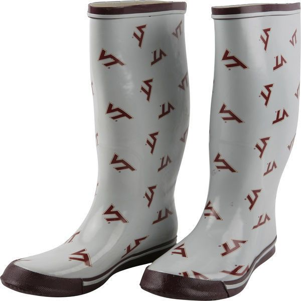 Virginia Tech Hokies Women's Allover Print Rubber Rain Boots ($55) ❤ liked on Polyvore featuring shoes, boots, white, rain boots, rubber shoes, white wellington boots, wellies rubber boots and rubber rain boots