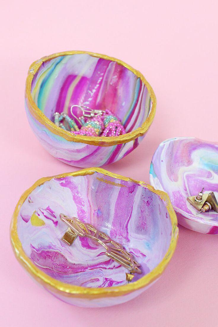 DIY marmorierte Schalen aus Fimo selber machen – Süße DIY Geschenkidee