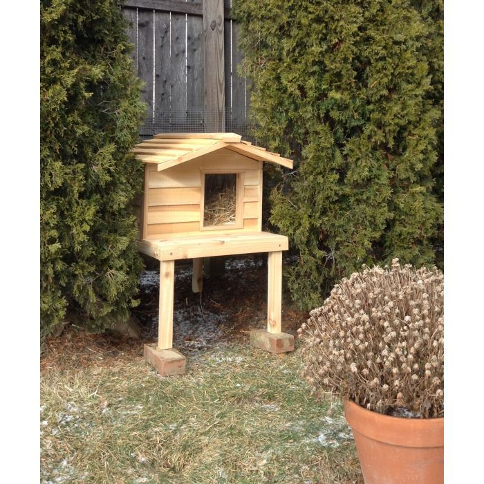 Make It Fun And Safe For Your Favorite Felines To Play Outdoors All Year Round With This Cedar Cat House On Stilts Th Outdoor Cat House Outdoor Cats Cat House