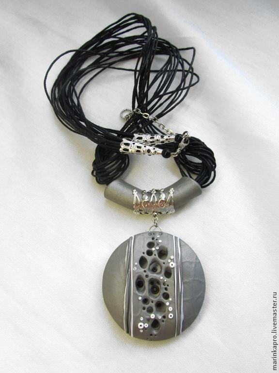 "Купить Кулон ""Серебро ночи"" - серебряный, круглый кулон, ажурный кулон, серебряный кулон, серый"