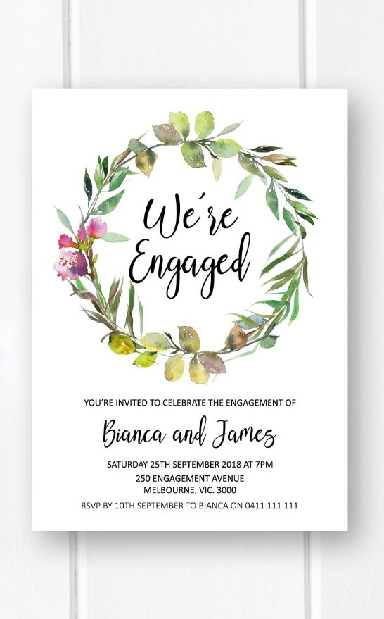 Engagement invitation printable, garden engagement party ideas