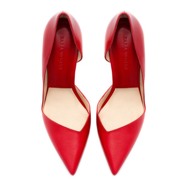 Zara red asymmetric pumps ❤ liked on Polyvore featuring shoes, pumps, heels, court shoes, famous footwear, red heel shoes, heels & pumps and red court shoes