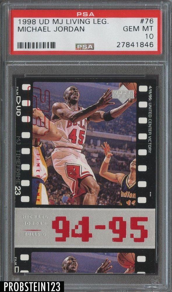 75e4b4635b7b51 1998-99 Upper Deck MJ Living Legend Michael Jordan Bulls HOF PSA 10 ...