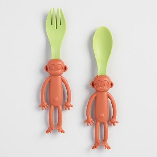 Make food time a barrel of fun with the Monkey Bites spork and spoon set! Durable, easy to clean, and perfectly sized for little hands, they make every meal an adventure.