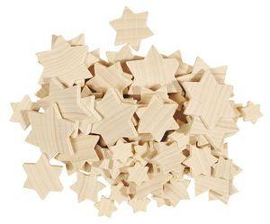 Streuteile Holz, 70 Stück Sterne