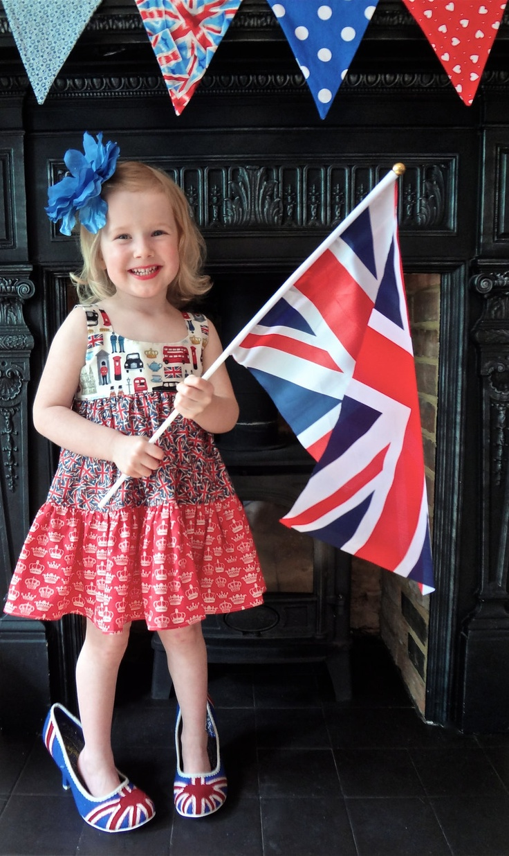 Handmade London Olympics dress for little girls