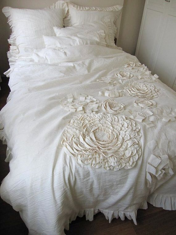 dahlia flower appliqued bohemian bedding shabby chic duvet. Black Bedroom Furniture Sets. Home Design Ideas