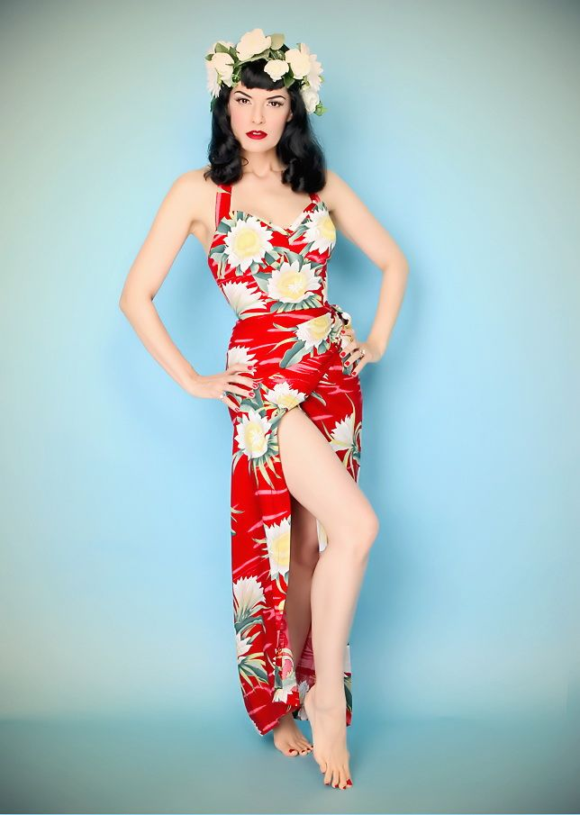 The beautiful Bernie Dexter in a Whirling Turban ankle length Hawaiian Dress with Petal Bust detail.