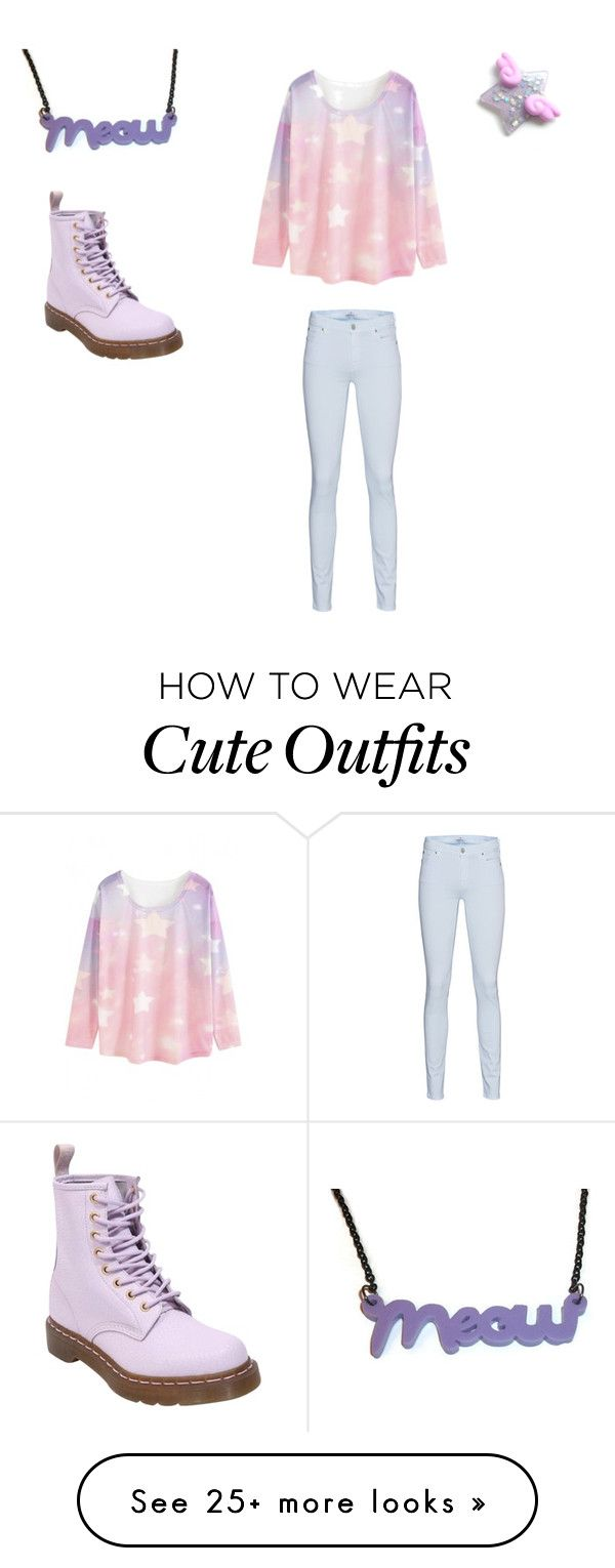 """Pastel Outfit #1"" by spookyhime on Polyvore featuring WithChic, 7 For All Mankind and Dr. Martens"