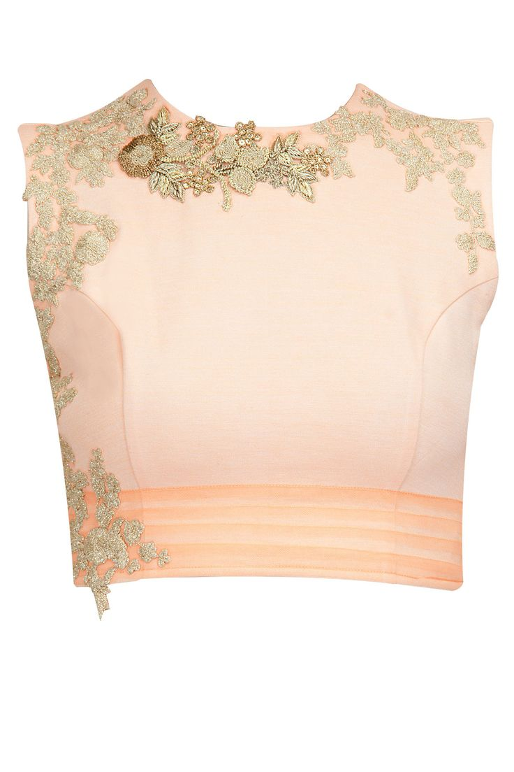 Peach crop top with metallic gold detailing BY RIDHI MEHRA. Shop now at: http://www.perniaspopupshop.com/  #indian #ridhimehra #india #designer #ethnic #amazing #beautiful #amazing #gorgous #perniaspopupshop #happyshopping