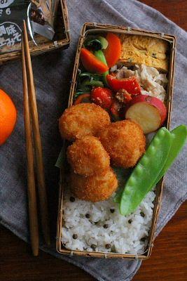 帆立貝柱のフライ弁当 | 日本の片隅で作る、とある日のお弁当