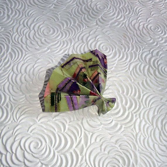 Handmade Brooch-Origami Fan-Japanese Paper by OrijujuShop on Etsy