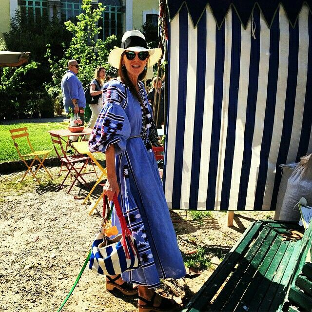 Stripeyou met fashion in Milan for Orticola 2015. Anna dello Russo (VOGUE) With our Hand Made striped Trunk Bag