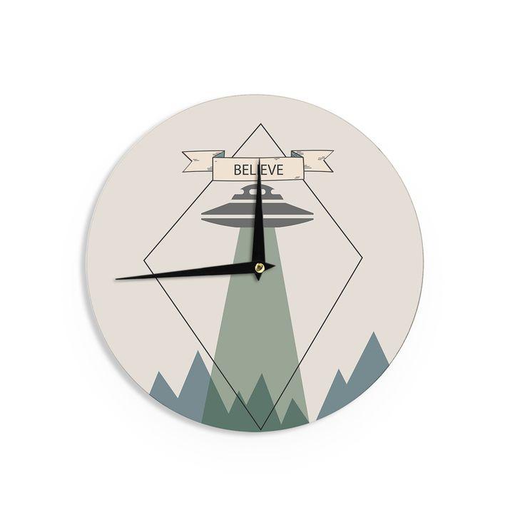 Kess InHouse Alias 'Believe' Geometric Beige Wall Clock