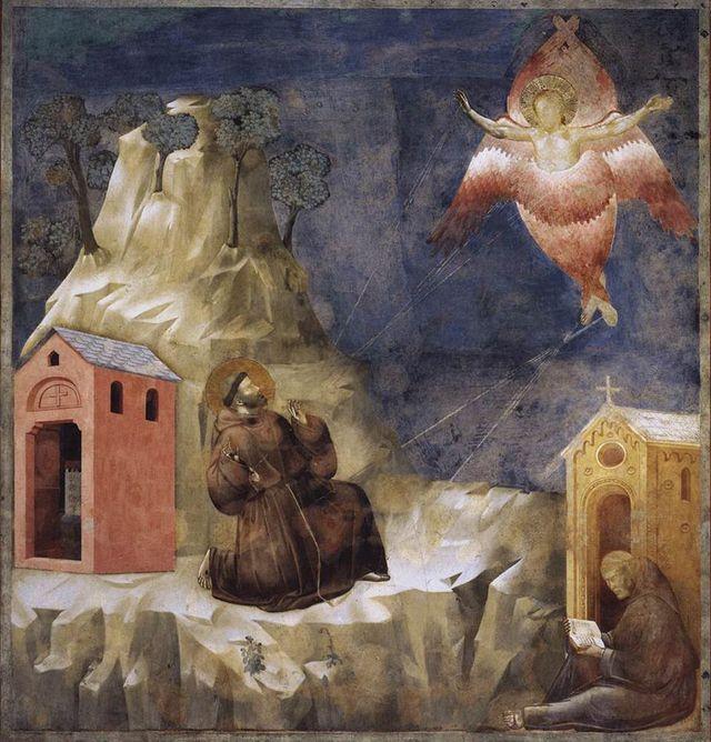 La oración de San Francisco de Asís: Esta imagen atribuída a Giotto (1267-1337) muestra la visión que tuvo San Francisco de un serafín e ilustra cómo San Francisco recibió los estigmas.