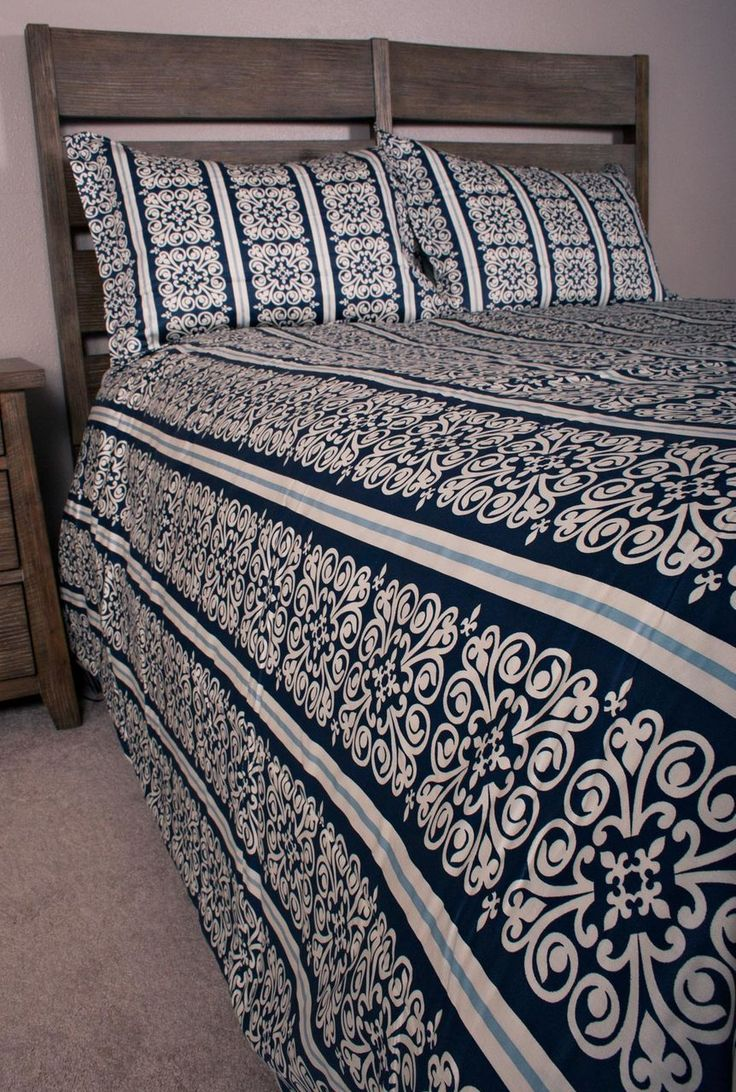 Blue white bedding bed linen floral amp stripe reversible duvet cover - Features A Dark Navy Blue And White Medallion Print With An Accent Of A Sky Blue