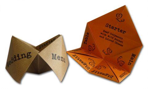 Fortune teller menus.  Really cute.