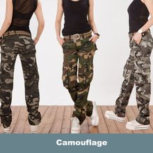 2016 Women casual Military camouflage trousers denim overalls sweat pants Ladies girls Multi-pocket tactical cargo pants(China (Mainland))