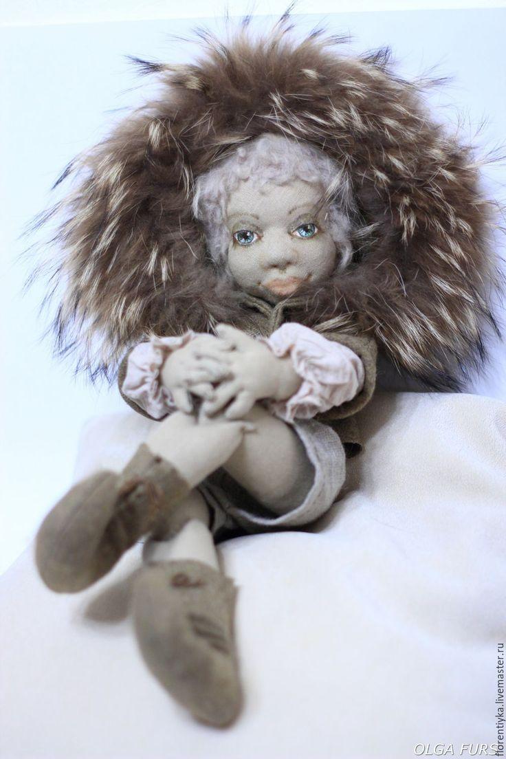 Купить Текстильная шарнирная кукла лесной эльф - хаки, игрушка ручной работы