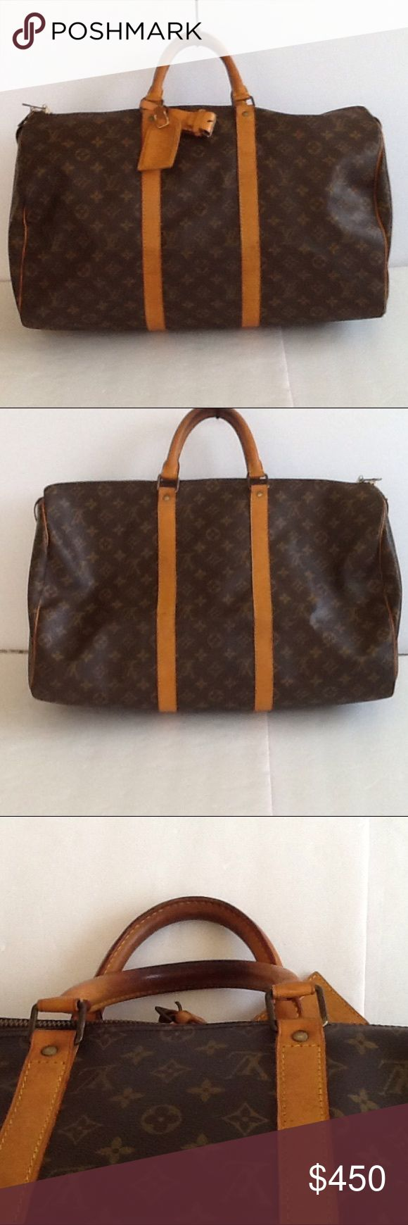 Authentic Louis Vuitton Keepall 45 Duffle Monogram The leather and straps showed signs of used. Canvas and inside linen are goo condition. The date code is VL 8901. The dimension is 20, 12 and 9 Louis Vuitton Bags Satchels