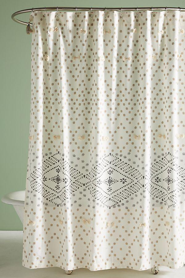 Liron Tufted Shower Curtain Boho Shower Curtain Curtains