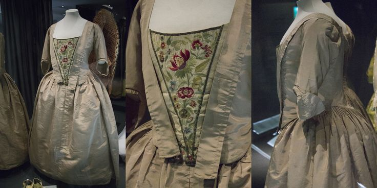 18th century dress and embroidered stomacher. Fashion museum Bath