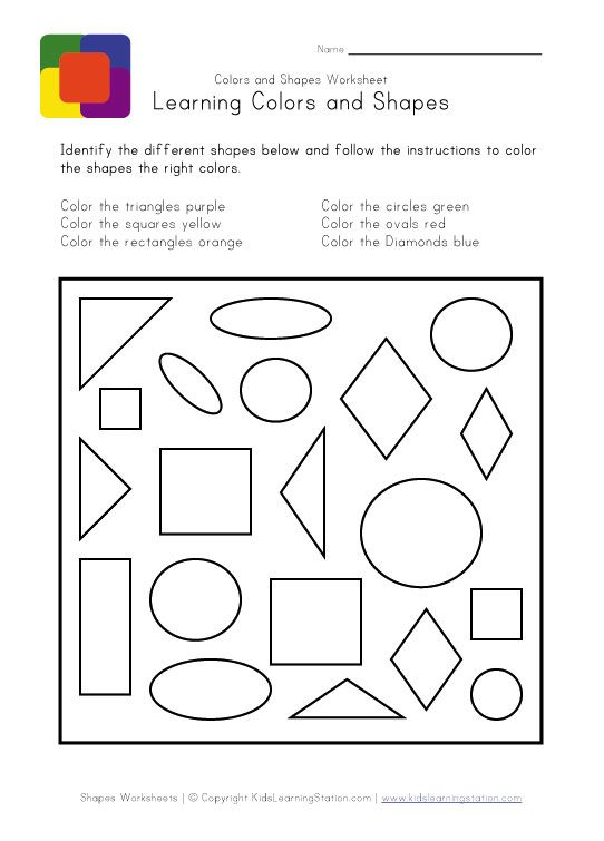 shapes and colors worksheet kids learning station kindergarten - Learning Colors Worksheets For Preschoolers
