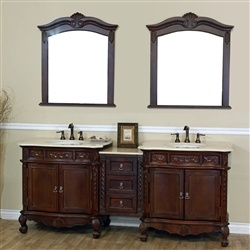 Bellaterra Double Sink Vanity In Walnut Wood, Luxury Bathroom Decor
