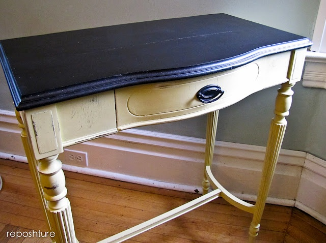 distressed yellow with stained top