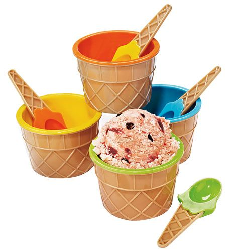 Cute colorful ice cream bowls and spoons for the kids