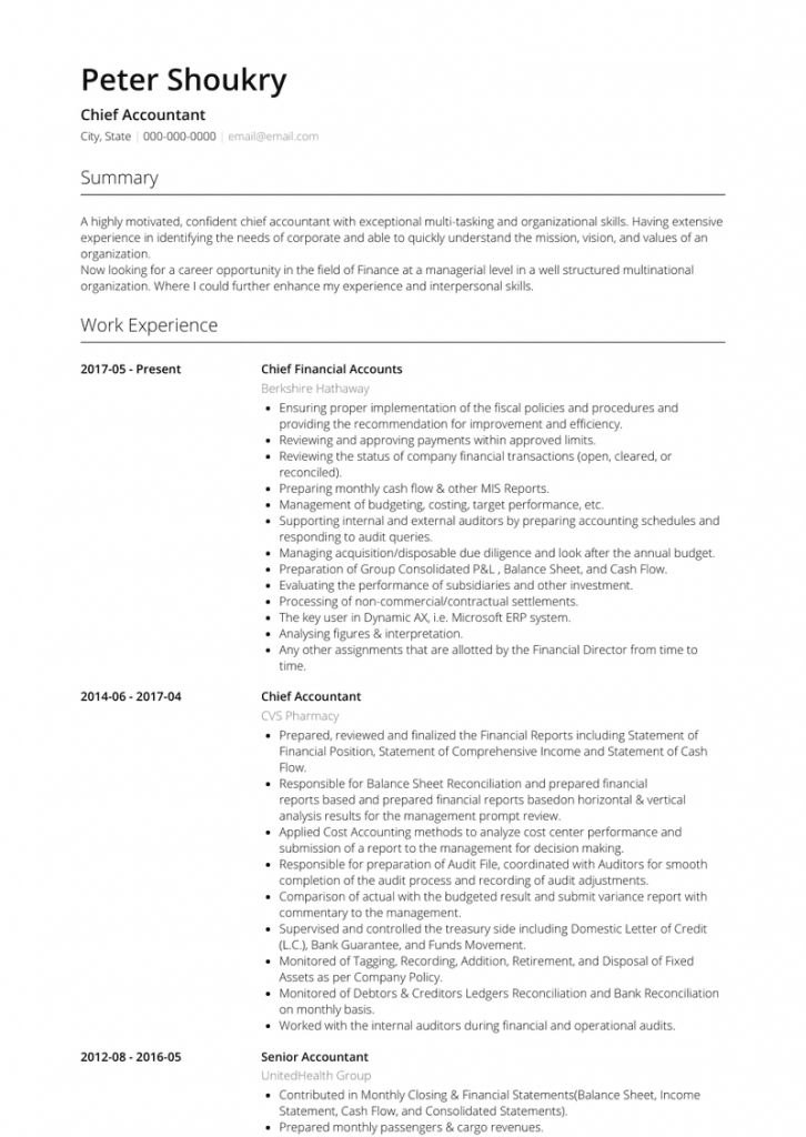 Professional cv format for accountant 2021 resume