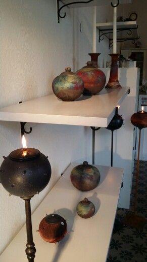 Axplock från min keramik i raku/Copper matt/stengods. My ceramics in my studio.