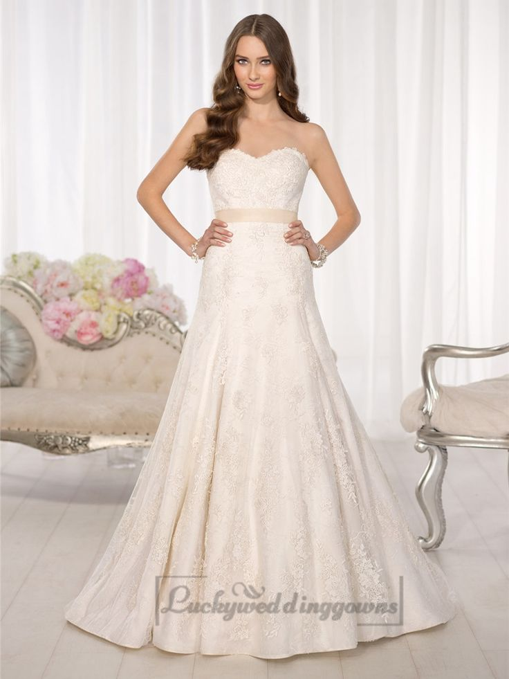 Strapless Sweetheart A-line Simple Lace Wedding Dresses
