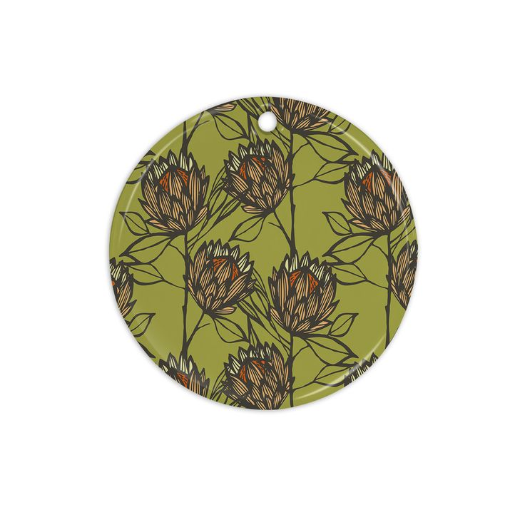 "Gill Eggleston ""Protea Olive"" Green Orange Ceramic Circle Ornament"